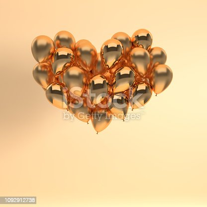 1085249444 istock photo 3d render illustration of realistic golden glossy balloon on beige background, heart shape. Valentine's Day romantic elegant 14 february card. For party, promotion social media banners, posters. 1092912738