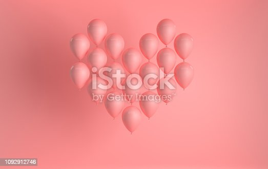 istock 3d render illustration of realistic pink glossy balloon on pink background, heart shape. Valentine's Day romantic elegant 14 february card. For party, promotion social media banners, posters. 1092912746