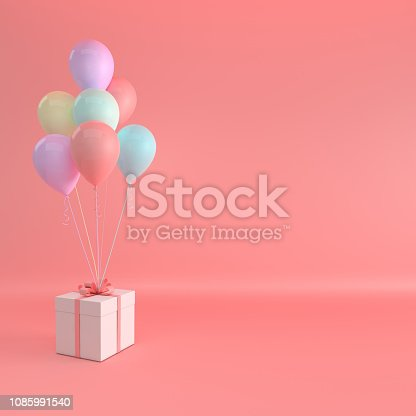 istock 3d render illustration of realistic pink, purple and yellow balloons and gift box with bow on pink background. Empty space for party, promotion social media banners, posters, pastel colors 1085991540