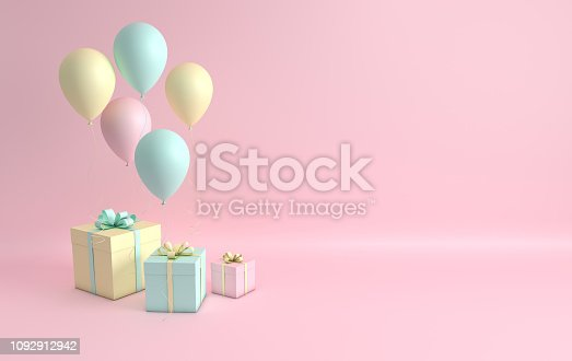 istock 3d render illustration of realistic pink, turquoise and yellow balloons and gift box with bow on pink background. Empty space for party, promotion social media banners, posters. 1092912942
