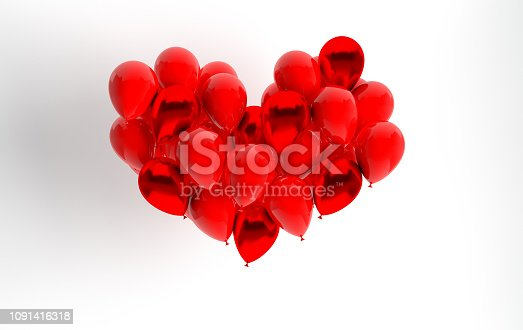 1085249444 istock photo 3d render illustration of realistic red glossy balloon on white background, heart shape. Valentine's Day romantic elegant 14 february card. For party, promotion social media banners, posters. 1091416318