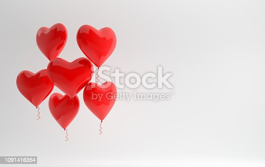 1085249444 istock photo 3d render illustration of realistic red glossy heart balloon on white background. Valentine's Day romantic elegant 14 february card. For party, promotion social media banners, posters. 1091416354