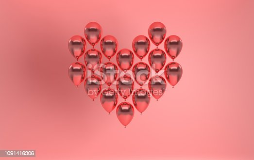 istock 3d render illustration of realistic rose gold glossy balloon on pink background, heart shape. Valentine's Day romantic elegant 14 february card. For party, promotion social media banners, posters. 1091416306