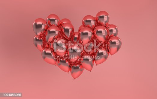 istock 3d render illustration of realistic rose gold glossy balloon on pink background, heart shape. Valentine's Day romantic elegant 14 february card. For party, promotion social media banners, posters. 1094053966