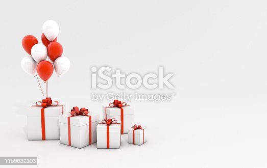 istock 3d render illustration of realistic white and red balloons and gift box with bow on white background. Empty space for party, promotion social media banners, posters. 1159632303