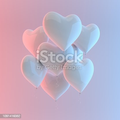 istock 3d render illustration of realistic white glossy heart balloon on white background, colorful studio light. Valentine's Day romantic elegant 14 february card. For party, promotion social media banners, posters. 1091416352