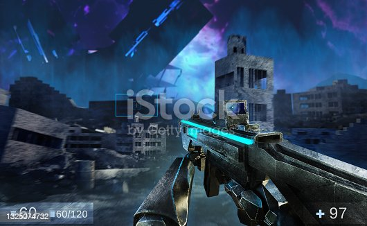 istock 3d render illustration of sci-fi first person shooter game with soldier hands holding futuristic weapon. 1325074732