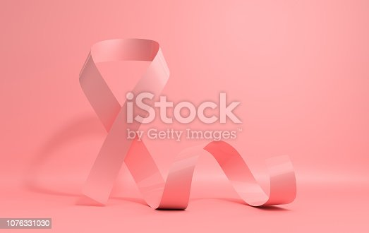 istock 3d render illustration, realistic glossy pink ribbon on pink background. Women health care support, female hope symbol. Breast cancer awareness poster template 1076331030