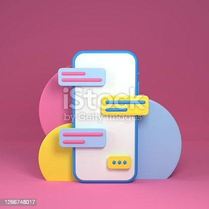 3d render illustration the white smartphone, Application and social media concept, communication, messenger. Mock-up phone empty screen on pink background