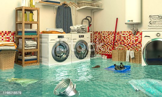 487597124 istock photo 3d render image of an interior of a flooded laundry. 1198016579