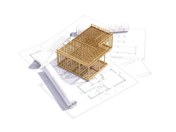 3D-Renderbild des Rahmenhauses. 3D-Illustration des Rahmenhauses. – Foto