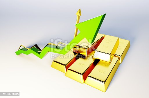 istock 3d render image of golden bars with growing graph 521027005