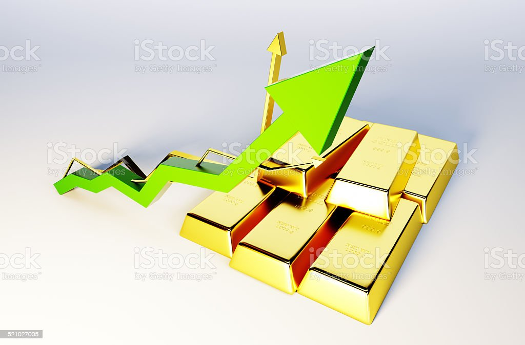3d render image of golden bars with growing graph stock photo