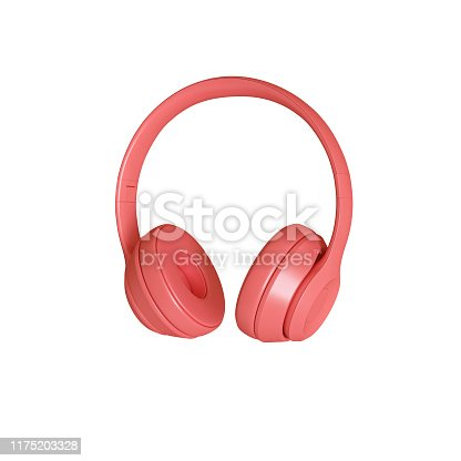 3d render image of modern coral-colored audio headphones on a white background.