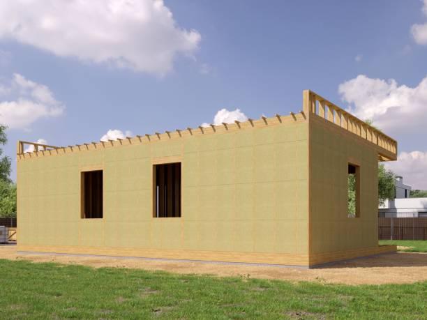 3D-Renderbild des modernen Rahmenhauses. 3D-Illustration des modernen Hauses. – Foto