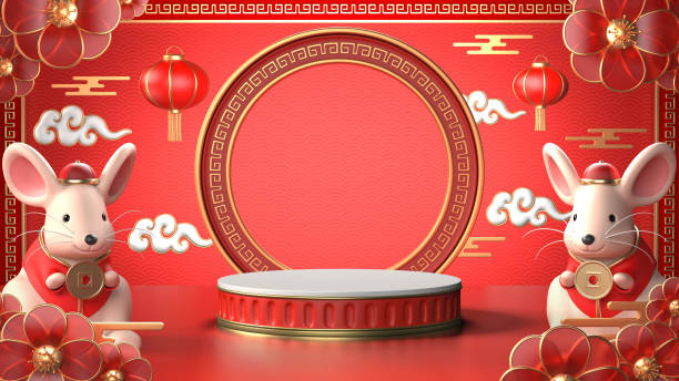 3d render image of red geometric podium.chinese tradition podium for beauty branding cosmetic or any product.concept shopping podium for chinese rat year. - chinese new year stock pictures, royalty-free photos & images
