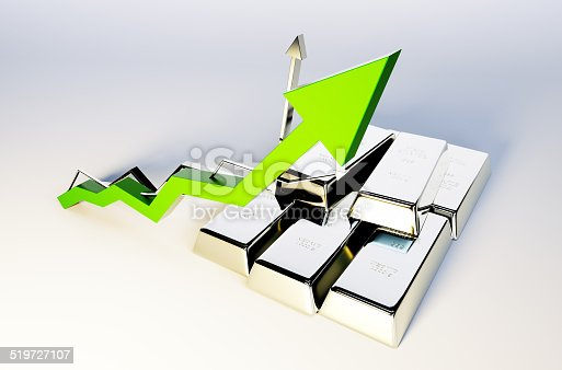 istock 3d render image of silver bars with growing graph 519727107