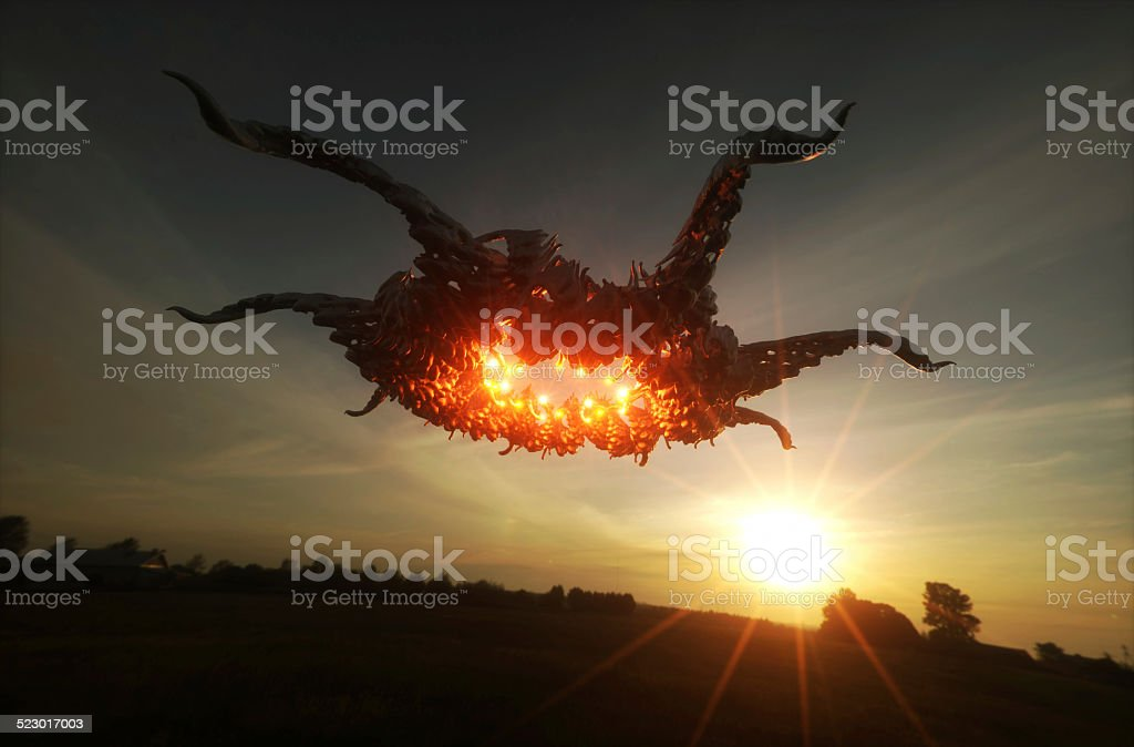 3d render image of ufo hovering over field stock photo