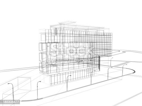 istock 3d render in wire frame layout, Aerial View 185305477