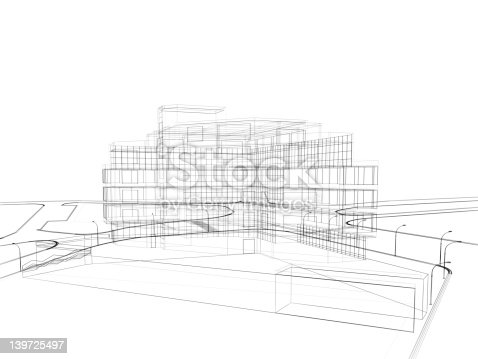 istock 3d render in wire frame layout, perspective View 139725497