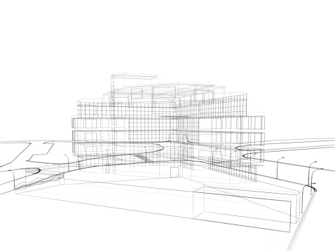 3d render in wire frame layout, perspective View
