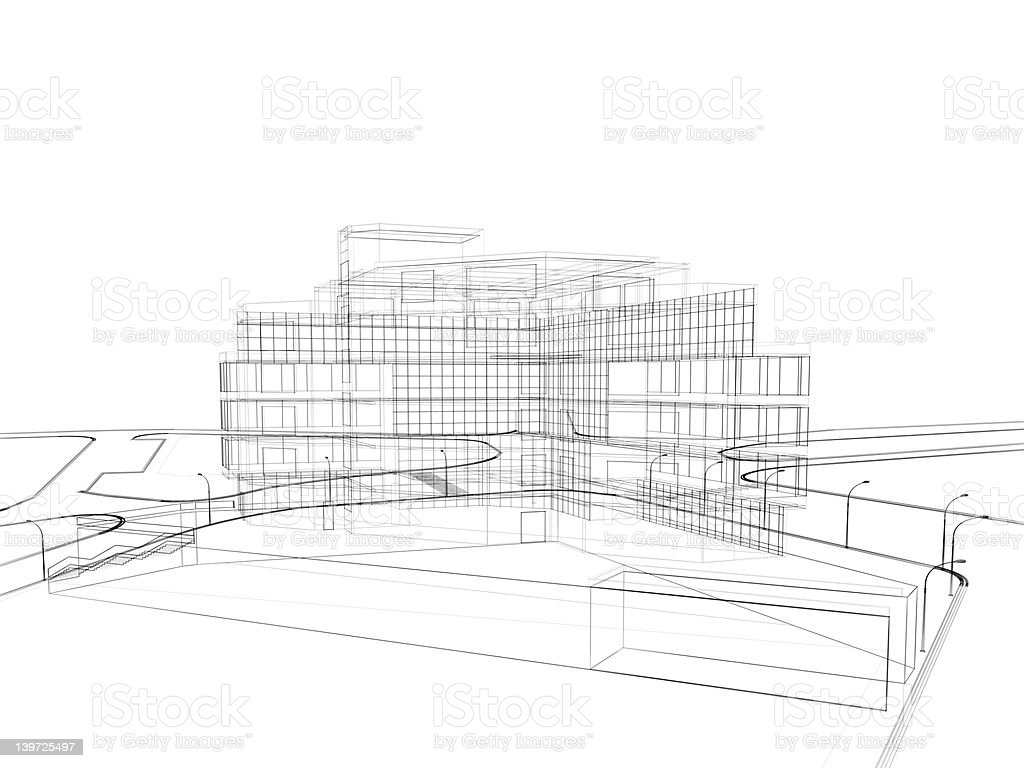 3d render in wire frame layout, perspective View stock photo