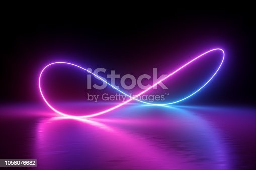 3d render, infinity symbol, neon light, loop, ultraviolet spectrum, quantum energy, pink blue violet glowing line, string, abstract background