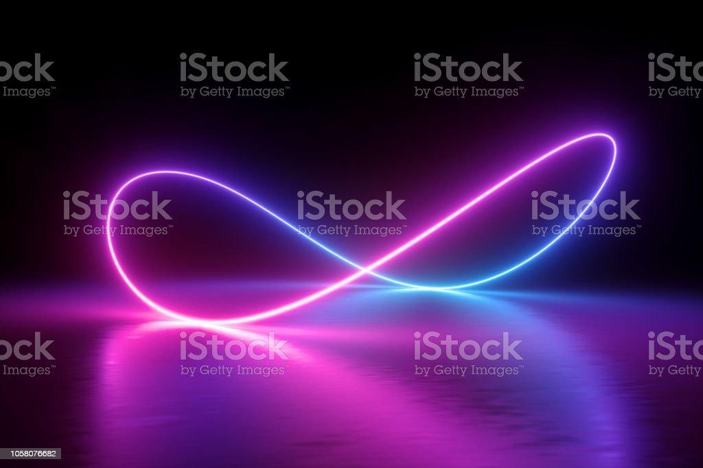 3d render, infinity symbol, neon light, loop, ultraviolet spectrum, quantum energy, pink blue violet glowing line, string, abstract background stock photo