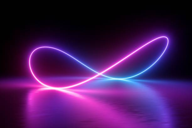 3d render, infinity symbol, neon light, loop, ultraviolet spectrum, quantum energy, pink blue violet glowing line, string, abstract background - icone foto e immagini stock