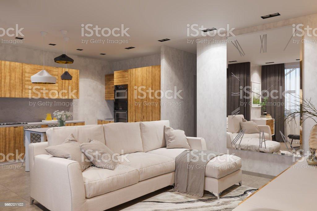 Render 3d Diseño De Interiores En Estilo Escandinavo Sala De