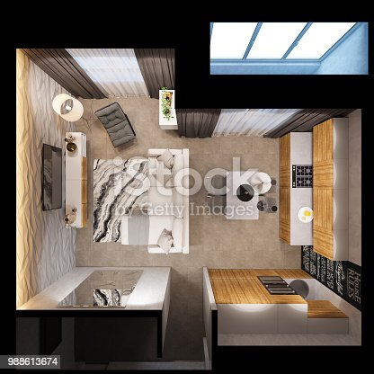 istock 3d render interior design of the apartments is in Scandinavian style, the living room and the kitchen are in a top view. 988613674