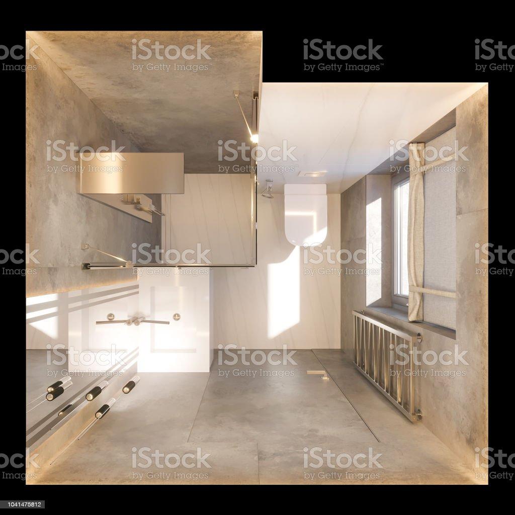 3d Render Interior Diseño Del Cuarto De Baño Con Pie De Vidrio En ...