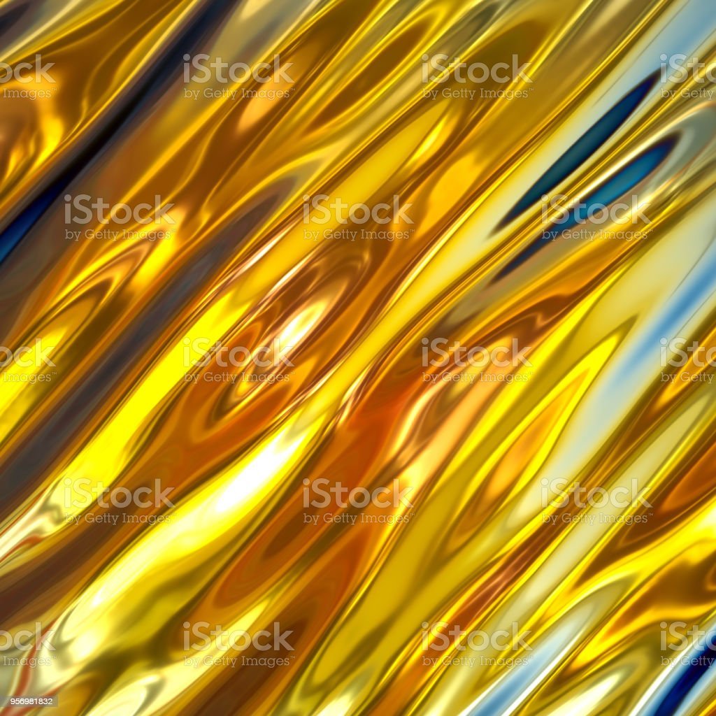 3d Render Iridescent Abstract Background Gold Liquid Texture Shiny Holographic Foil Wavy