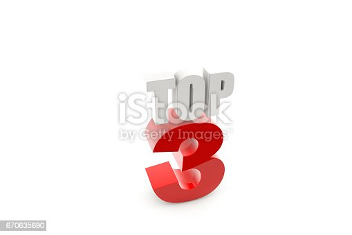 istock 3d render isolated number 3 on white 670635690