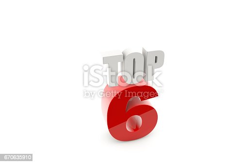 istock 3d render isolated number 6 on white 670635910