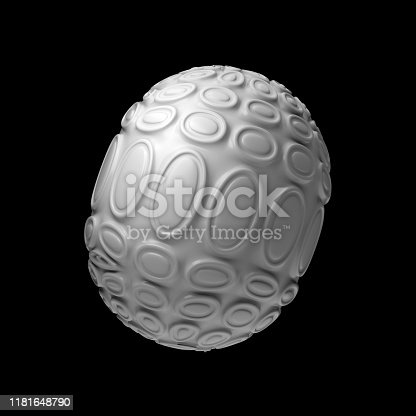 istock 3d render isolated simple shape of primitive with double extruded cell cover. 1181648790