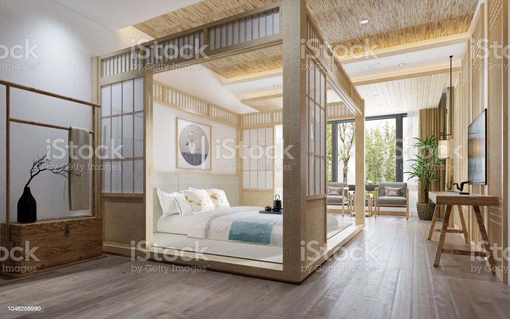 3d Render Japan Style Bedroom Stock Photo More Pictures Of