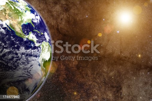 626787550 istock photo 3d render - Large Star & Earth 174477940