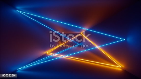 istock 3d render, laser show, night club interior lights, blue yellow glowing lines, abstract fluorescent background, room, corridor 905332394