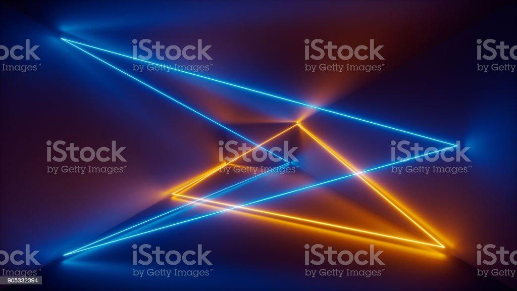 3D render, show de laser, luzes interiores do clube de noite, azuis amarelas linhas brilhantes, fluorescente abstrato, quarto, corredor - foto de acervo