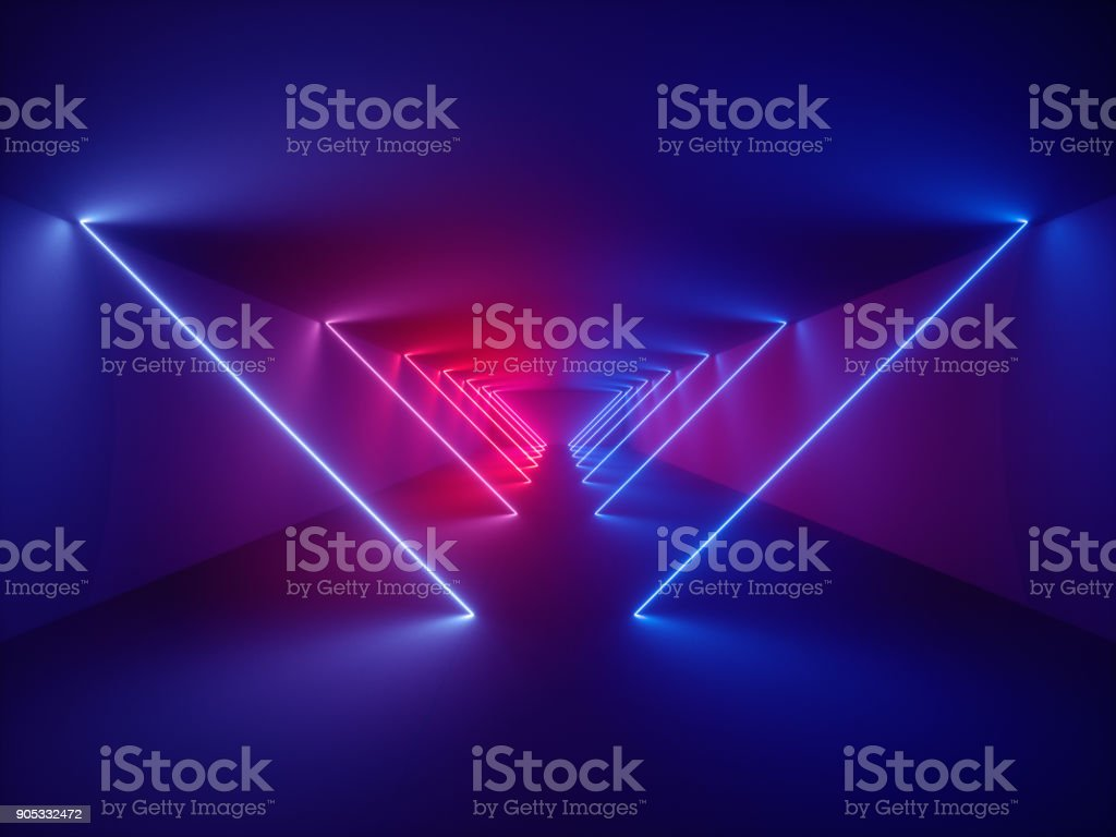 3d render, laser show, night club interior lights, glowing lines, abstract fluorescent background, corridor royalty-free stock photo