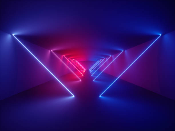 3d render, laser show, night club interior lights, glowing lines, abstract fluorescent background, corridor - futuristic technology imagens e fotografias de stock