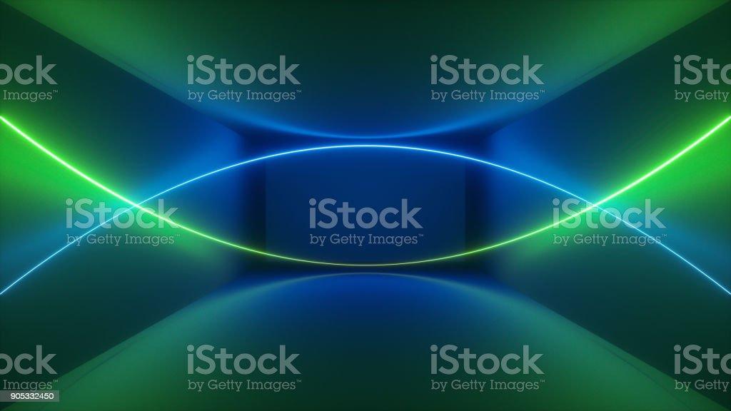 3D render, show de laser, luzes interiores do clube de noite, verde azul abstrato fluorescente, incandescência linhas curvas, formas geométricas - foto de acervo