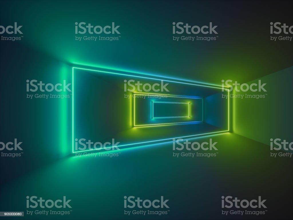 3D render, show de laser, luzes interiores do clube de noite, linhas verdes brilhantes, fluorescente abstrato, quarto, corredor - foto de acervo