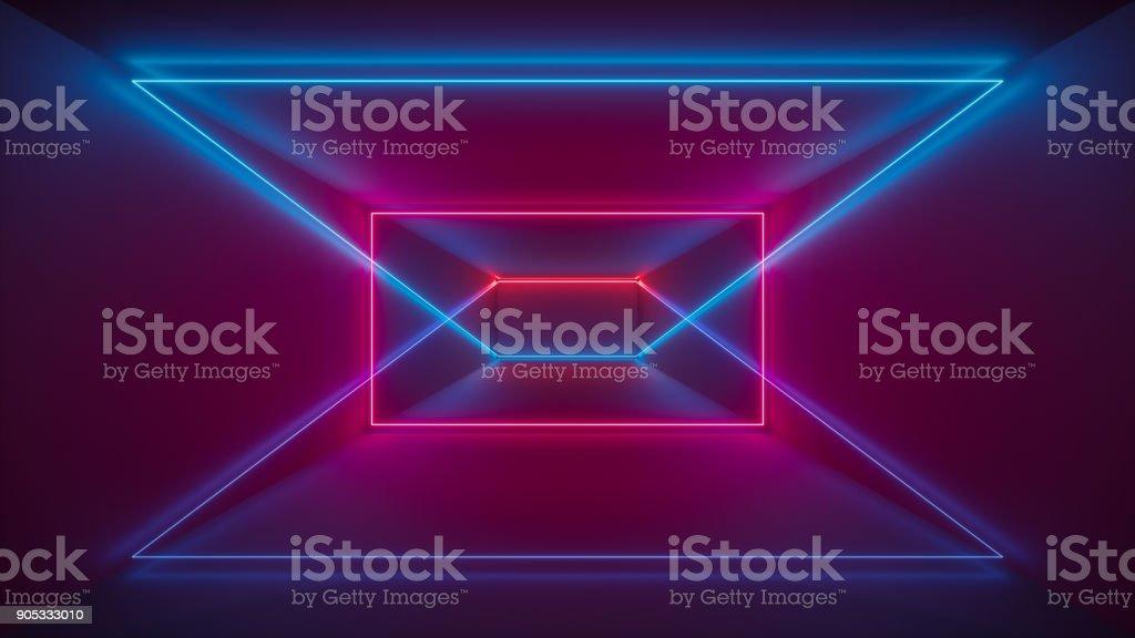 renderização 3D, show de laser, luzes interiores do clube de noite, vermelhas azuis linhas brilhantes, fluorescente abstrato, formas geométricas - foto de acervo
