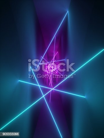 istock 3d render, laser show, night club interior lights, violet pink blue glowing lines, abstract fluorescent background, room, corridor 905333066