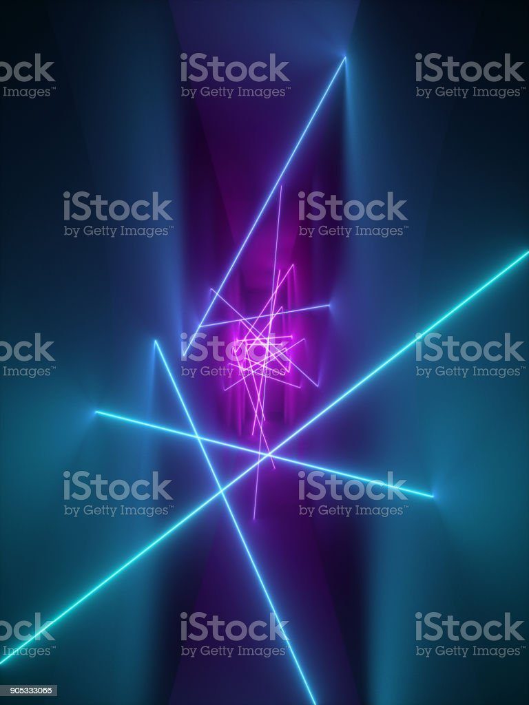 3D render, show de laser, luzes interiores do clube de noite, violetas-de-rosa azuis linhas brilhantes, fluorescente abstrato, quarto, corredor - foto de acervo