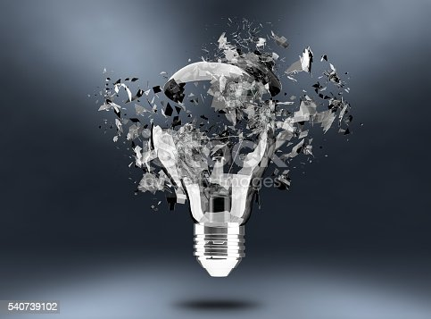 istock 3d render Light bulb breaking 540739102