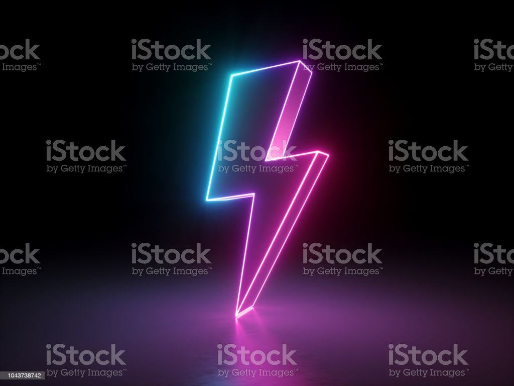 3d render, lightning, electric power symbol, retro neon glowing sign isolated on black background, ultraviolet light, electricity, electric lamp, adult sex icon, fluorescent element stock photo