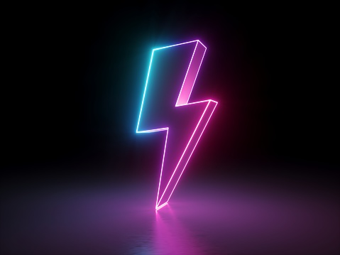 3d Render Lightning Electric Power Symbol Retro Neon ...